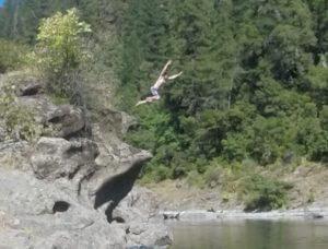 Jumping off the rocks