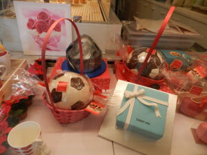chocolate soccer ball in Milan bakery