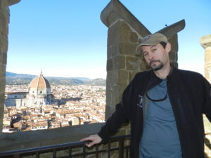 Frank Morin with Florence Italy Dome in background